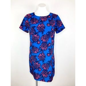 💜J.Crew Blue Floral Short Sleeve Dress C5608